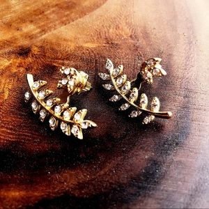 Jewelry - Golden Leaf 🍂 Faux Rhinestone Stud Earrings